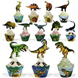 BeeGreen Dinosaur Party Supplies Cupcake Toppers and Wrappers 24 Pack Cupcake and Cake Decrorations for Kids Boys Birthday Party
