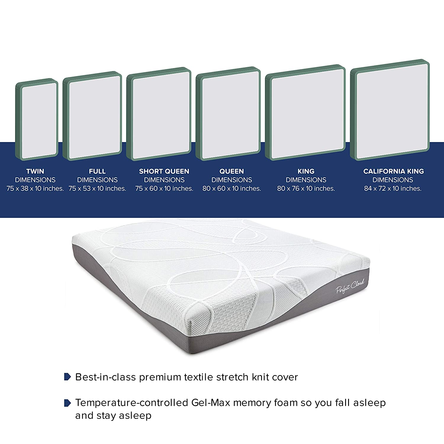 9deba85f26b21e Amazon.com  UltraPlush Gel-Max Memory Foam Mattress by Perfect Cloud  (Queen) - 10-inches Tall - Featuring New Visco Gel Cool Design So You ll  Sleep ...