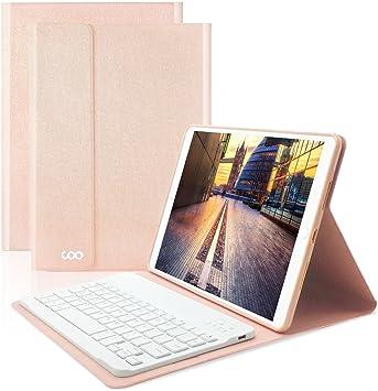 Coo Nouvel iPad 9.7 2017 Funda Teclado, soporte ultra ligero cartera Carcasa con teclado Bluetooth extraíble para Apple iPad 9.7 2017, nuevo Tablet ...