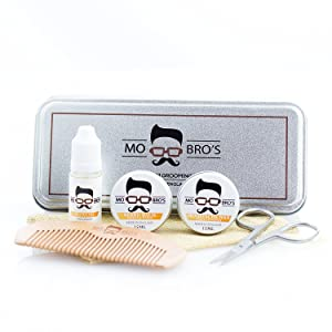 Mo Bro's Grooming Kit- Gift Tin, Moustache Wax, Beard Balm, Oil, Comb, Scissors (Vanilla & Mango)