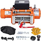 AC-DK 9500 lbs Electric Winch 12V DC Water Proof IP67 Recovery Winch with Steel Wire Rope Orange Color Come with…