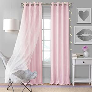 "Elrene Home Fashions Aurora Solid Faux Silk with Sheer Sparkle Overlay Room Darkening Window Curtain Panel, 52"" W x 95"" L (1, Soft Pink"