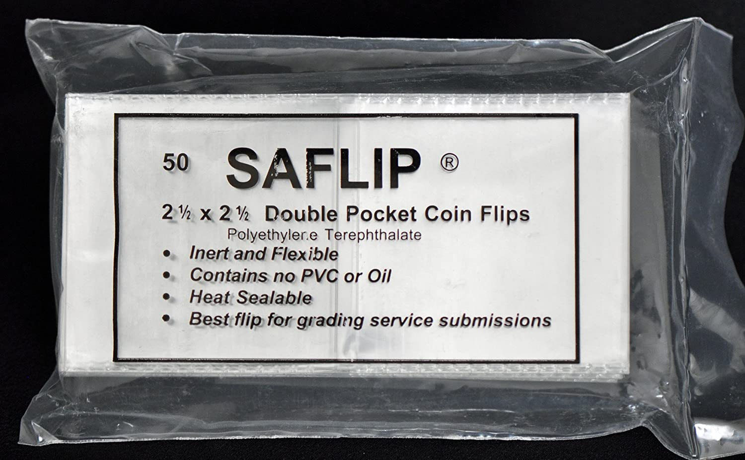 Coin Collecting Flips Saflip Saflips 2.5 x 2.5 Mylar 50 Archival INSERTS FREE