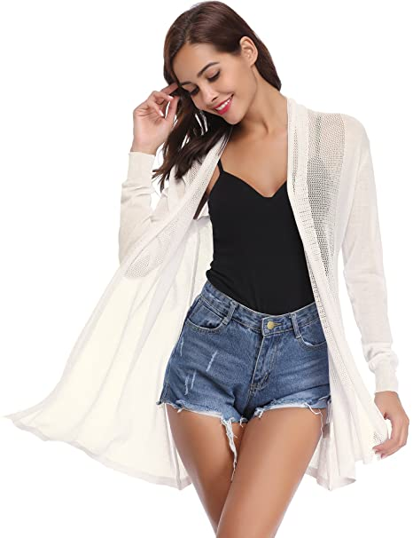 54c70b523cdee Abollria Waterfall Cardigan for Women Summer Lightweight Long Sleeve Open  Front Cardigans  Amazon.co.uk  Clothing