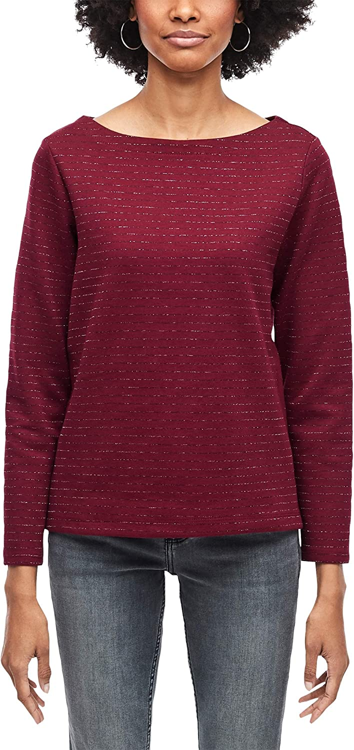 s.Oliver RED Label Damen Langarmshirt mit Glitzerstreifen