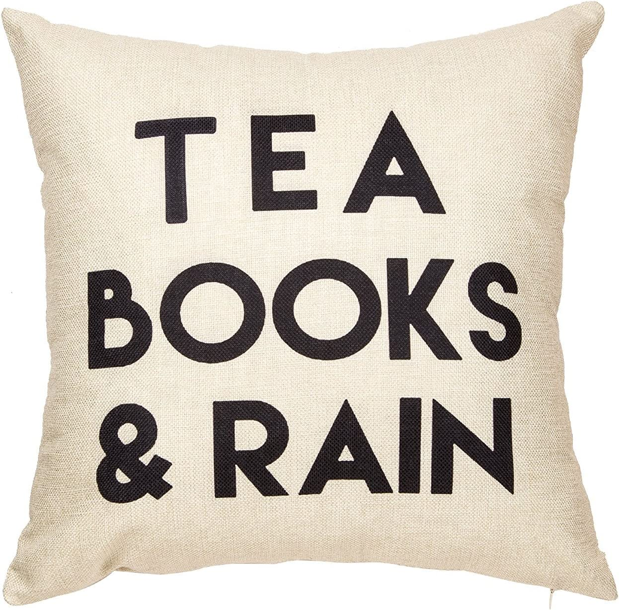 Amazon Com Jbralid Pillowcase Tea Books And Rain Motivational Inspirational Quote Cotton Linen Home Decorative Throw Pillow Case Cushion Cover With Words For Book Lover Worm Sofa Couch 20x20 In Home Kitchen