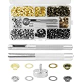 Grommet Kit 1/4 Inch, 400 Sets Eyelets and Grommets in 4 Colors and 3 Pieces Installation Metal Grommet Tool Kit with Storage