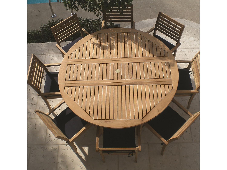 Amazon.com: Royal Teak DLT5 60 Inch/5 Feet Round Drop Leaf Table: Kitchen U0026  Dining