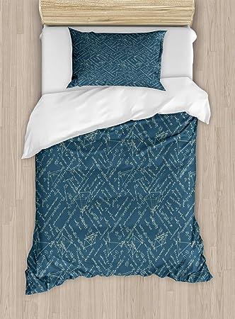 Amazoncom Lunarable Math Twin Size Duvet Cover Set School Themed - Geometrical-shapes-on-bedding