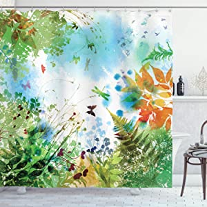 Ambesonne Dragonfly Shower Curtain, Ferns Petals Flourishing Nature Fantasy Complex Mixed Digital Watercolors Effect Image Art Print, Cloth Fabric Bathroom Decor Set with Hooks, 75