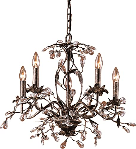 Elk 8053 5 5-Light Chandelier in Deep Rust and Crystal Droplets, 21 x 21 x 17