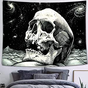 FEASRT Skull Tapestry, Skeleton Starry Sky Tapestries Wall Hanging for Living Room Bedroom Dorm Home Decor 80×60 Inches GTZYAY7
