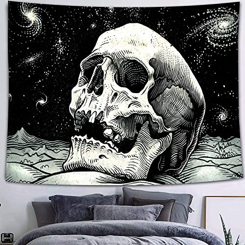 FEASRT Skull Tapestry, Skeleton Starry Sky Tapestries Wall Hanging for Living Room Bedroom Dorm Home Decor 80 60 Inches GTZYAY7