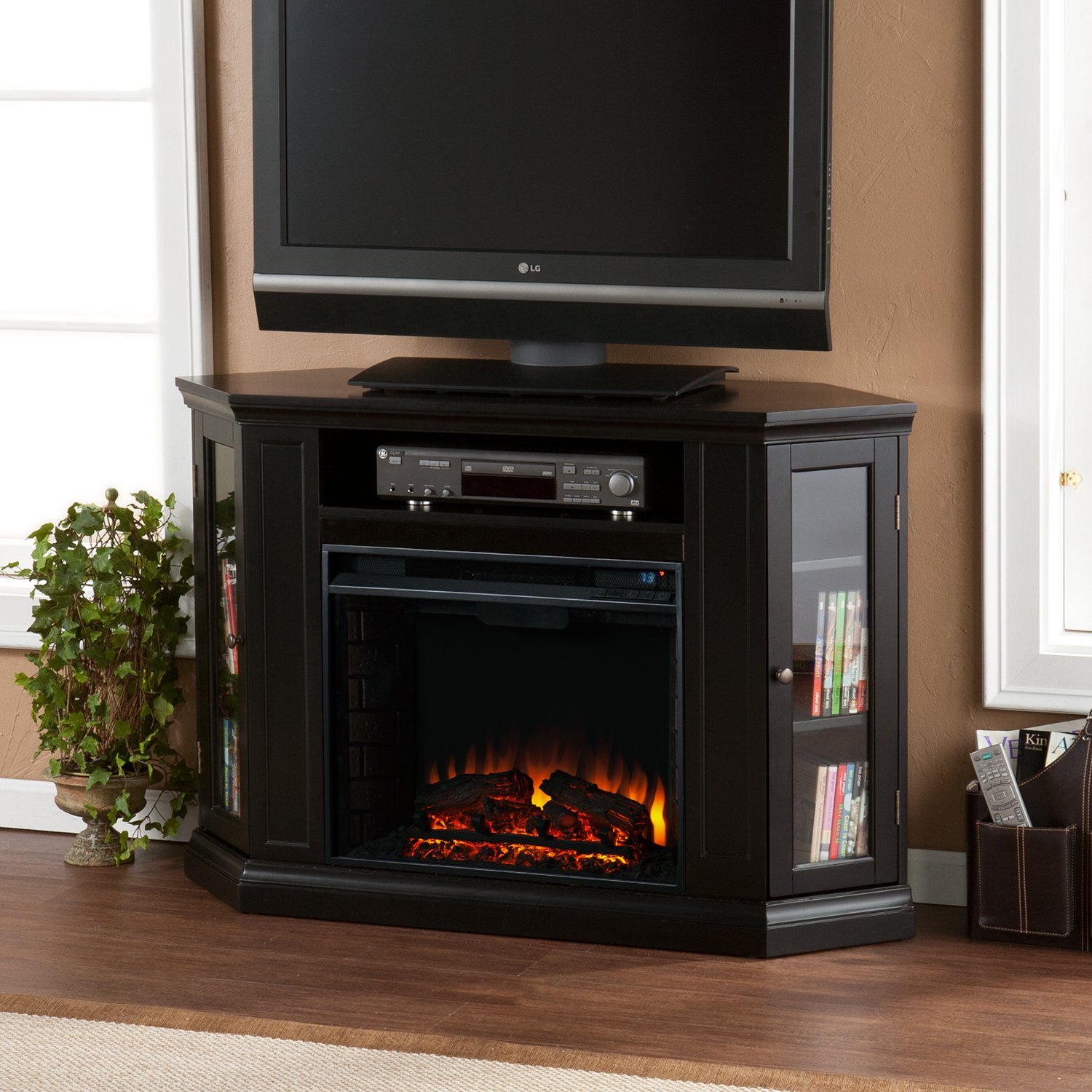 amazon com convertible electric fireplace with cabinet tv media