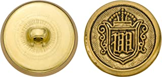 product image for C&C Metal Products 5268 Crest Metal Button, Size 36 Ligne, Antique Gold, 36-Pack