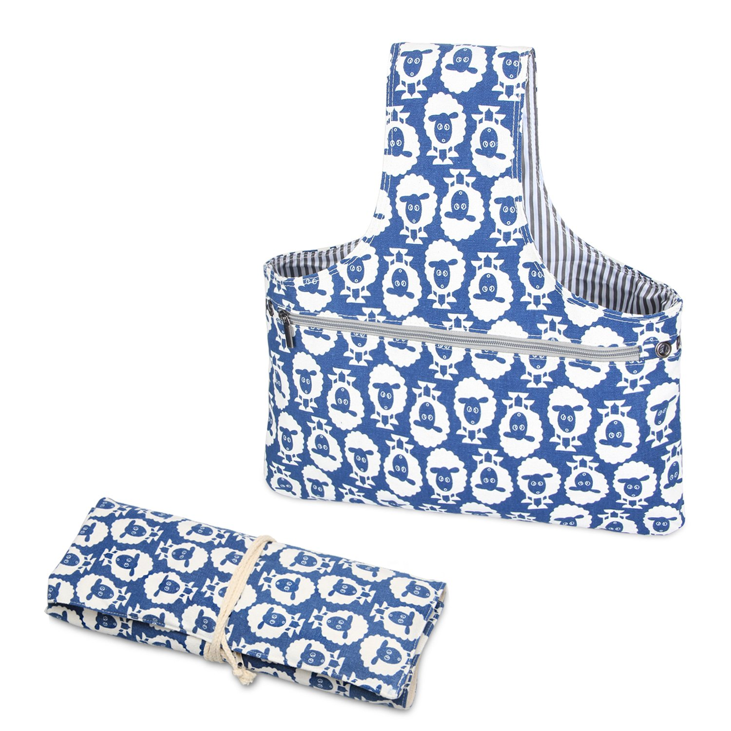 Teamoy 2 Pack Canvas Knitting Tote Bag and Knitting Needles Roll Holder for Yarn, Knitting Needles(14 Inches), Supplies and More, Perfect Size for Knitting on The Go(Large, Sheep)