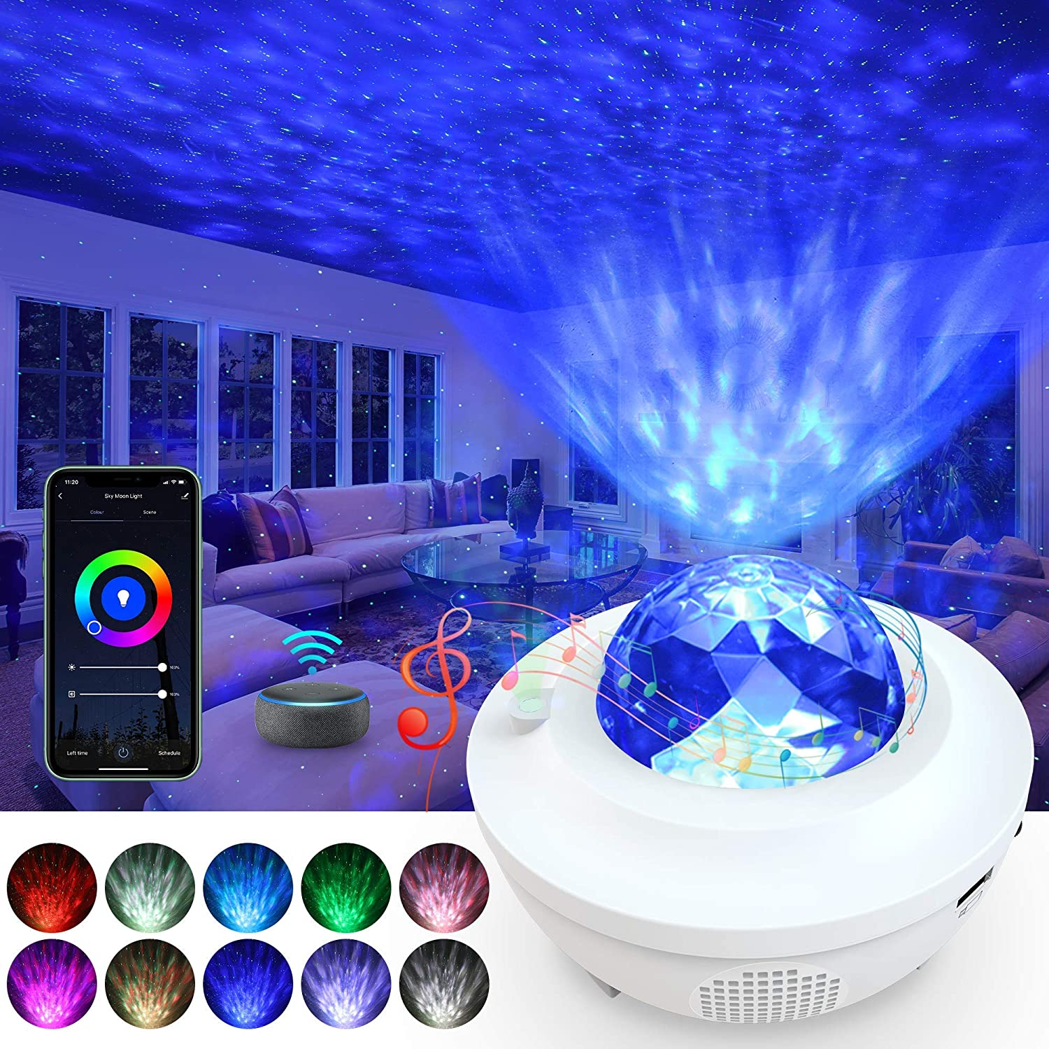 Star Projector, Yamla Smart Galaxy Light Projector Work With Alexa Google Assistant, Ocean Wave Night Light Projector With App Remote Control Bluetooth Speaker, Sky lite for Kids Adults Bedroom Party