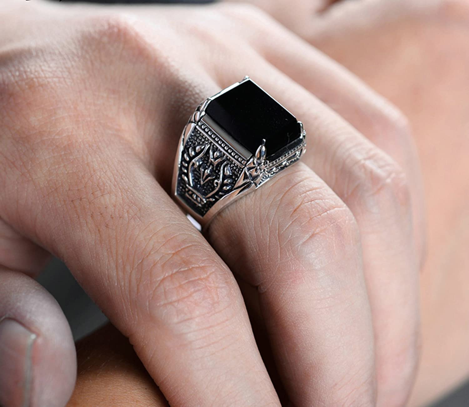 Bishilin Sterling Silver Mens Ring Square CZ Olive Branch Partner Anniversary Rings Silver Black Size 9.5
