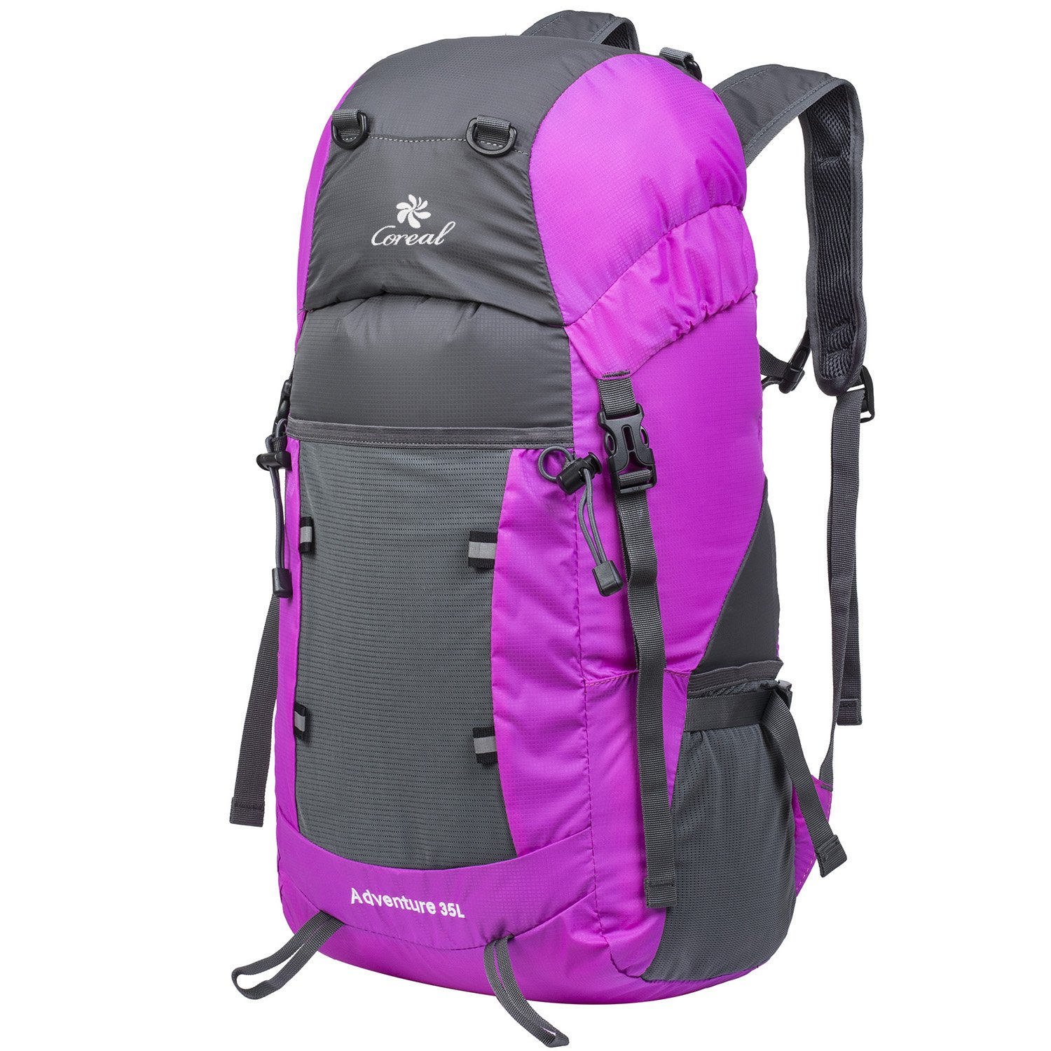 Coreal Hiking Foldable Backpack Packable Lightweight Daypack 35L Women and Men Pink