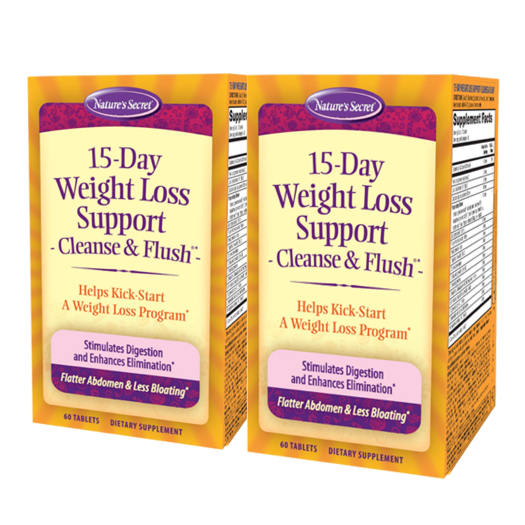 Nature's Secret 15-Day Weight Loss Support & Natural Energy Boost - Cleanse & Flush Stimulates Digestion, Enhances Toxin Elimination & Reduced Bloating with Healing Herbs - 60 Tablets (Pack of 2)