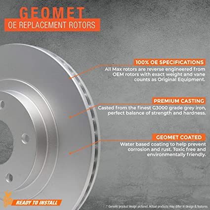 Max Brakes Geomet OE Rotors with Carbon Ceramic Pads KT042461 Front