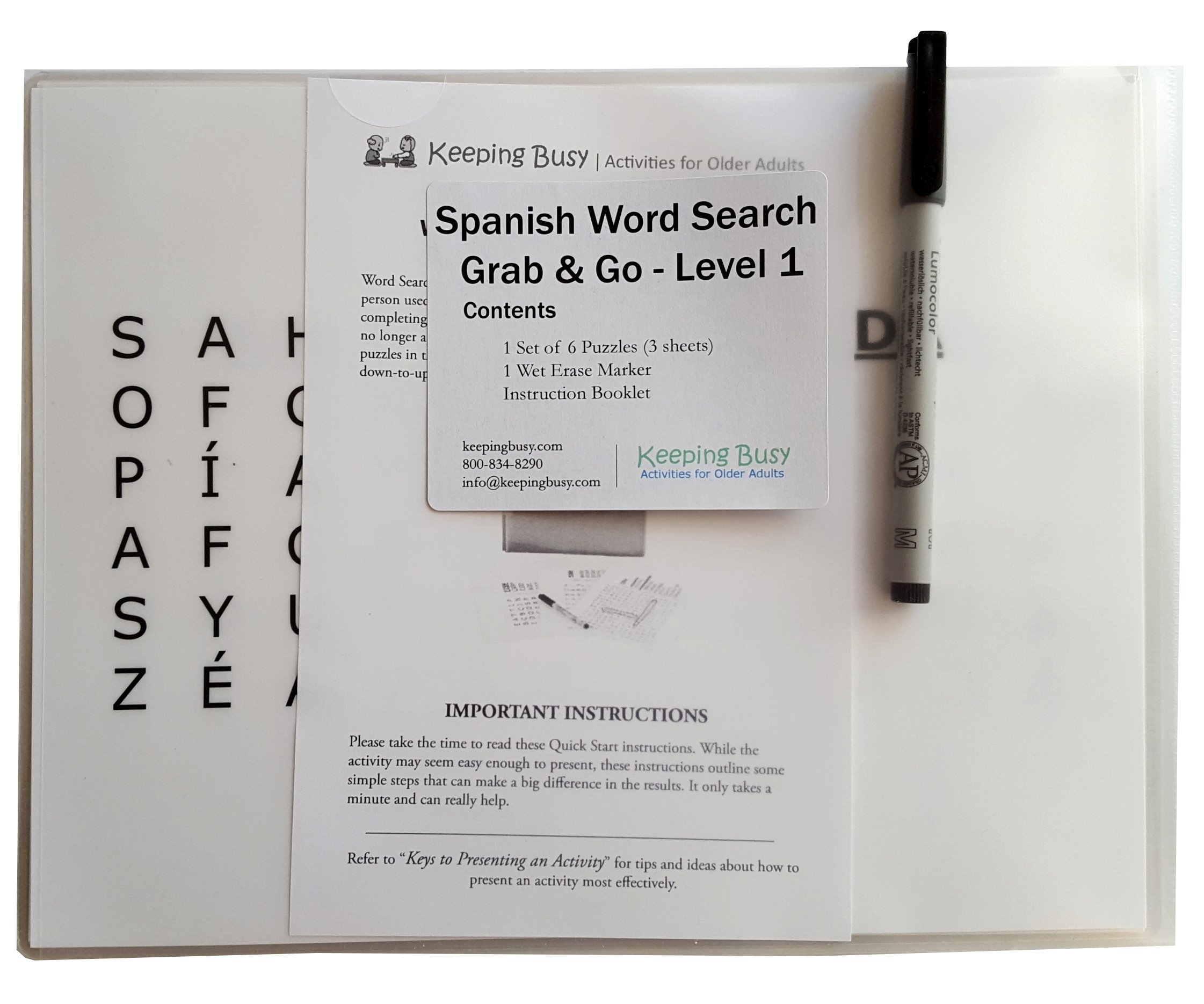 Keeping Busy Nivel 1 (Fácil) Spanish Word Search Dementia and Alzheimer's Grab & Go Engaging Activity for Older Adults by Keeping Busy (Image #2)