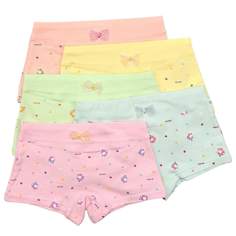 BOOPH Girls Underwear Toddler Little Hipster Boyshort Kids Briefs Cotton Panties 5 Pack by BOOPH (Image #3)
