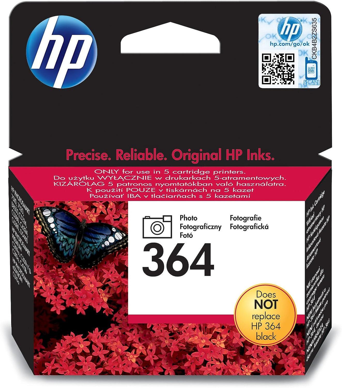 HP 364 Photo Original Ink Cartridge - Cartucho de Tinta para impresoras (Foto Negro, Negro, Estándar, 5-80%, -40-70 °C, 5-50 °C): Amazon.es: Oficina y papelería