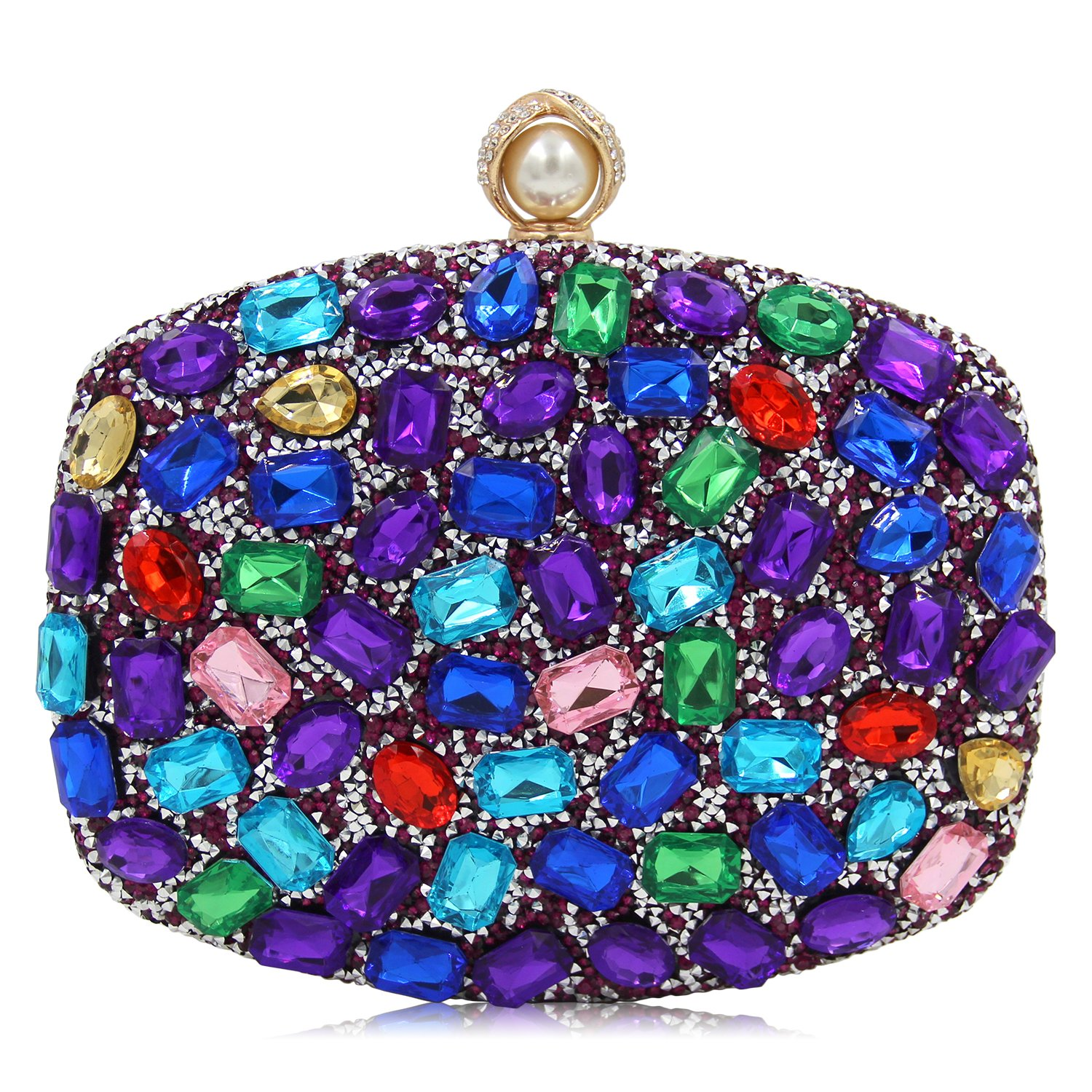 Women Evening Bag Diamond Clutches Crystal Clutch Purse Handbags For Wedding (Multicoloured Purple)