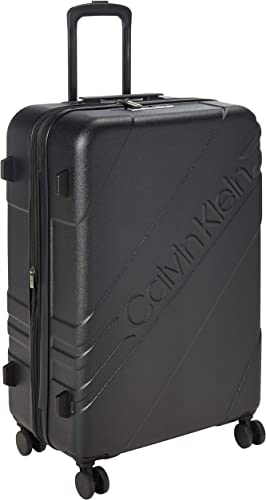 Calvin Klein Cheer Hardside Spinner Luggage with TSA Lock, Black, 28 Inch