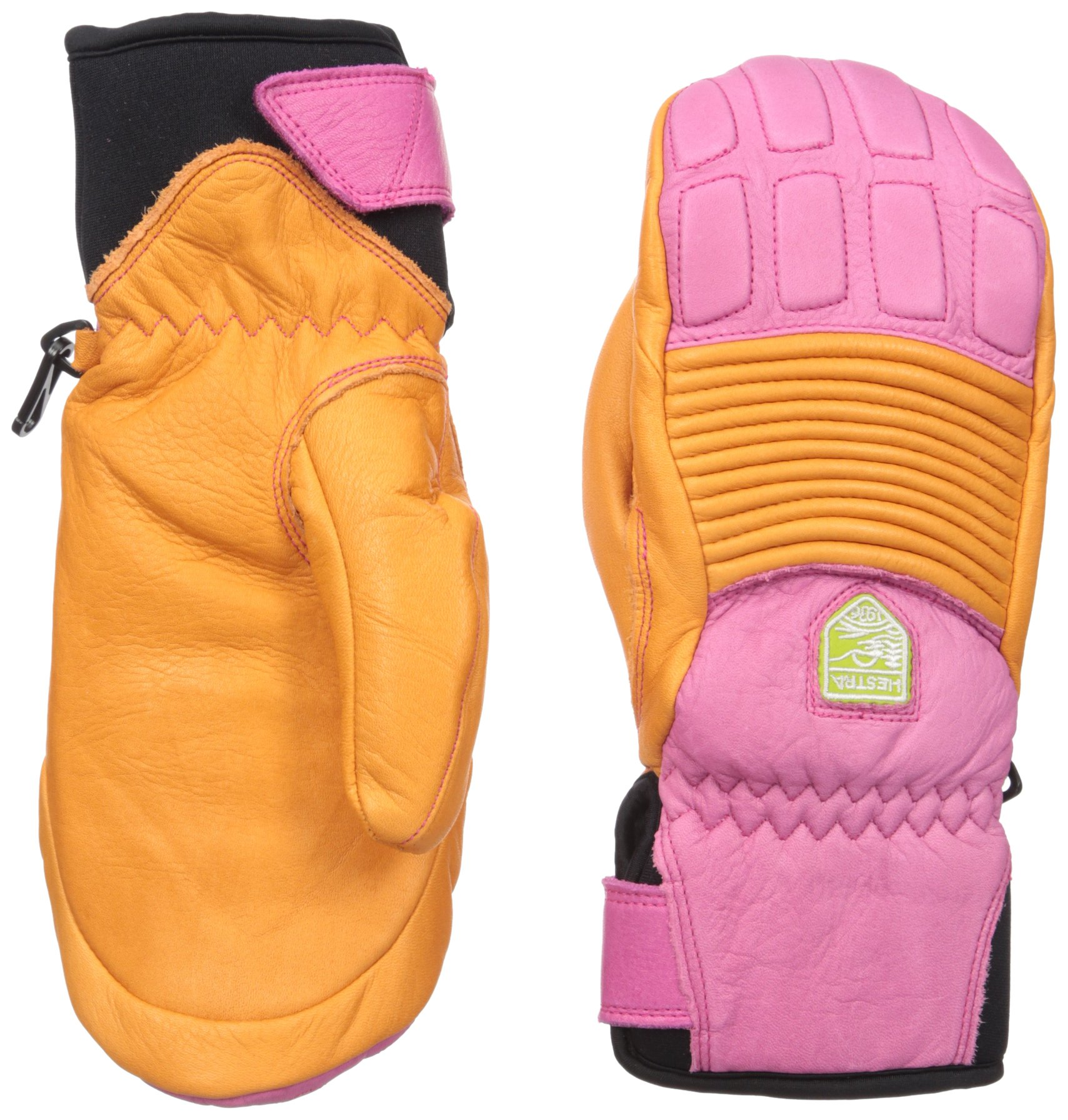 Hestra Women's Fall Line Short Leather Ski and Ride Mitten,Orange/Cerise,7 by Hestra