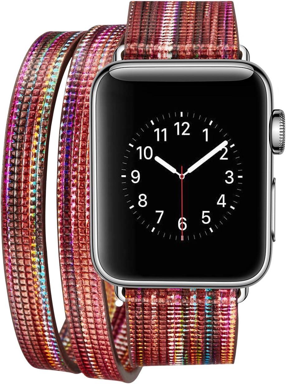 iPM IPMDBLCFUN-38-F Leather Double Wrap Apple Watch Band Strap with Fun Colors, Dark Orange