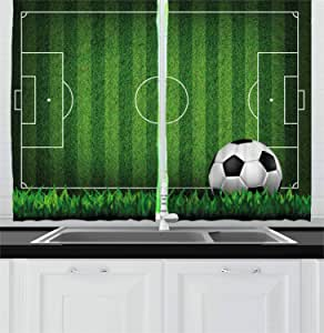 """Lunarable Sports Kitchen Curtains, Green Grass Field Soccer Playground with The Ball Scheme Stripes Strategy, Window Drapes 2 Panel Set for Kitchen Cafe Decor, 55"""" X 39"""", Black White"""