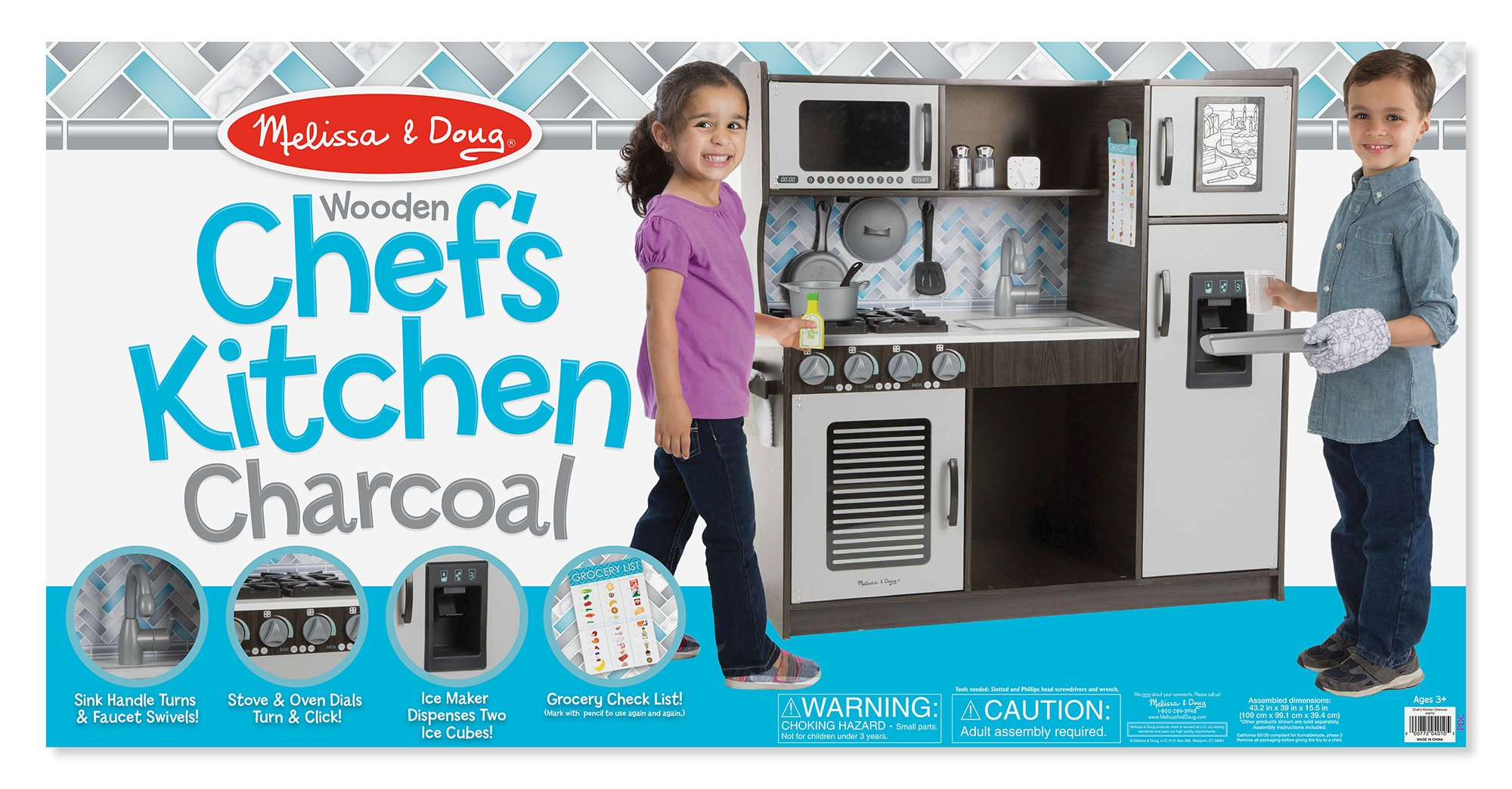 """Melissa & Doug Wooden Chef's Pretend Play Toy Kitchen With """"Ice"""" Cube Dispenser – Charcoal by Melissa & Doug (Image #4)"""