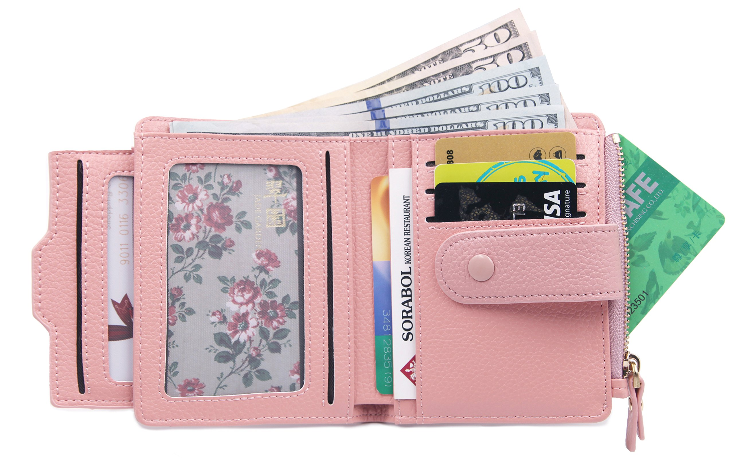 Women's Mini Soft Leather Wallet with ID Window Card Sleeve Bifold Wallet Coin Purse (pink)
