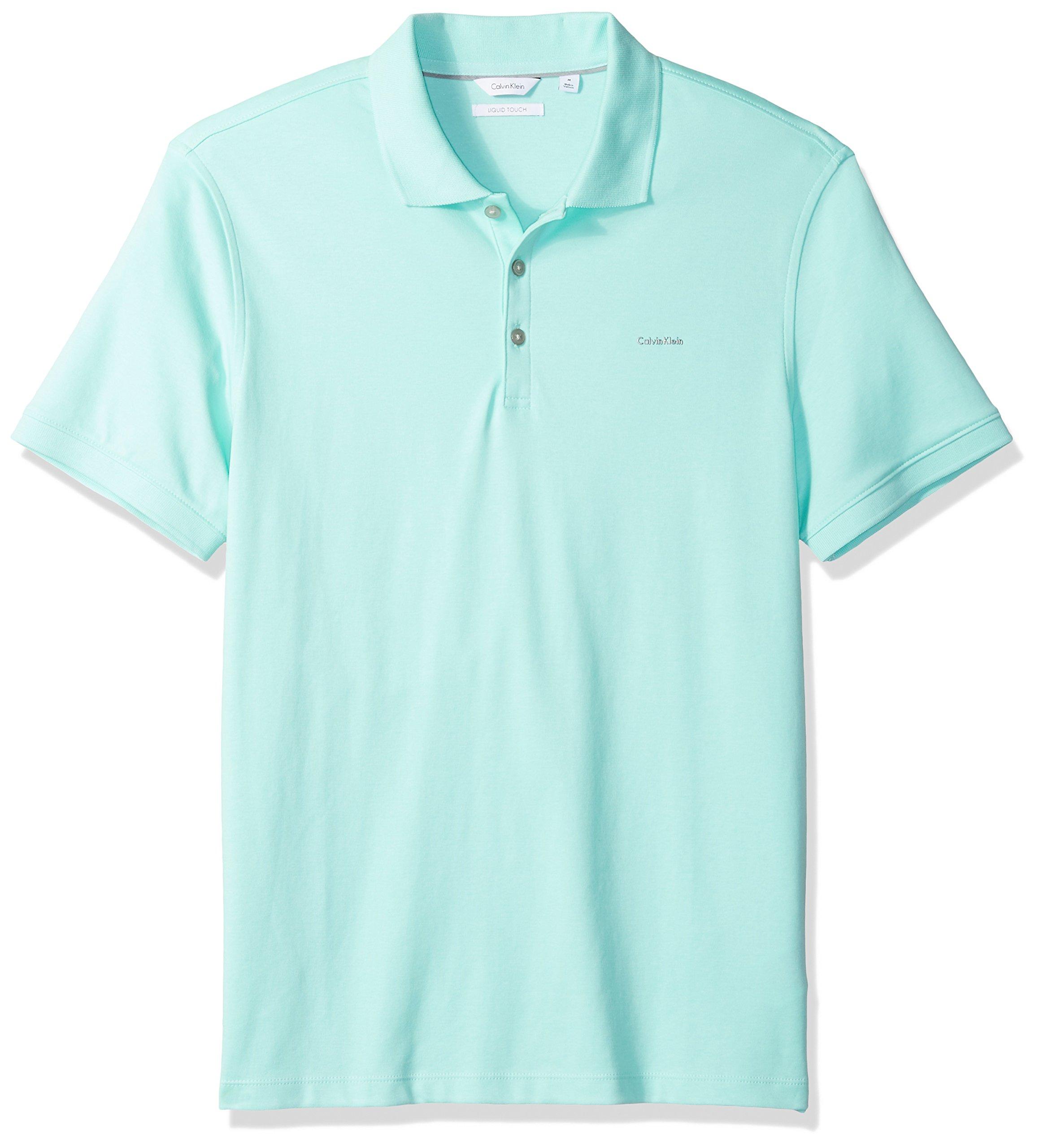 Calvin Klein Men's Short Sleeve Cotton Polo, Beach Glass, S