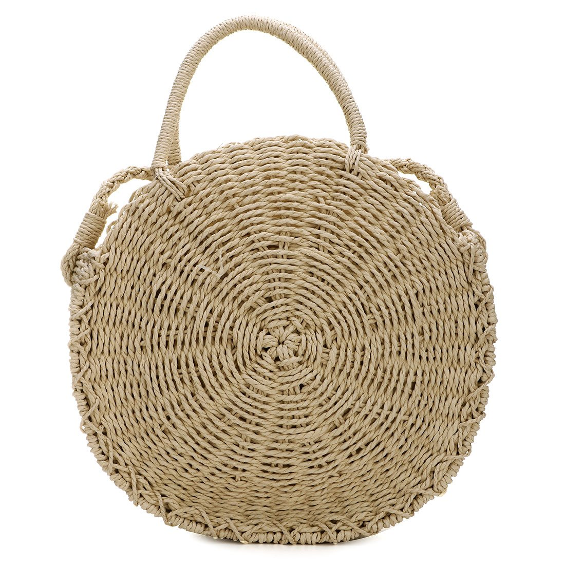 Straw Crossbody Bag Women Weave Shoulder Bag Round Summer Beach Purse and Handbags (Khaki)