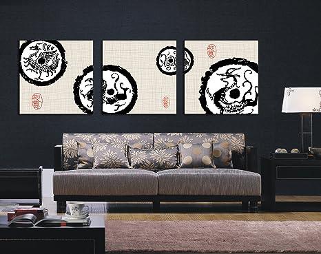 misterioso cinese drago totem 3 pezzi classica pittura murale Home ...