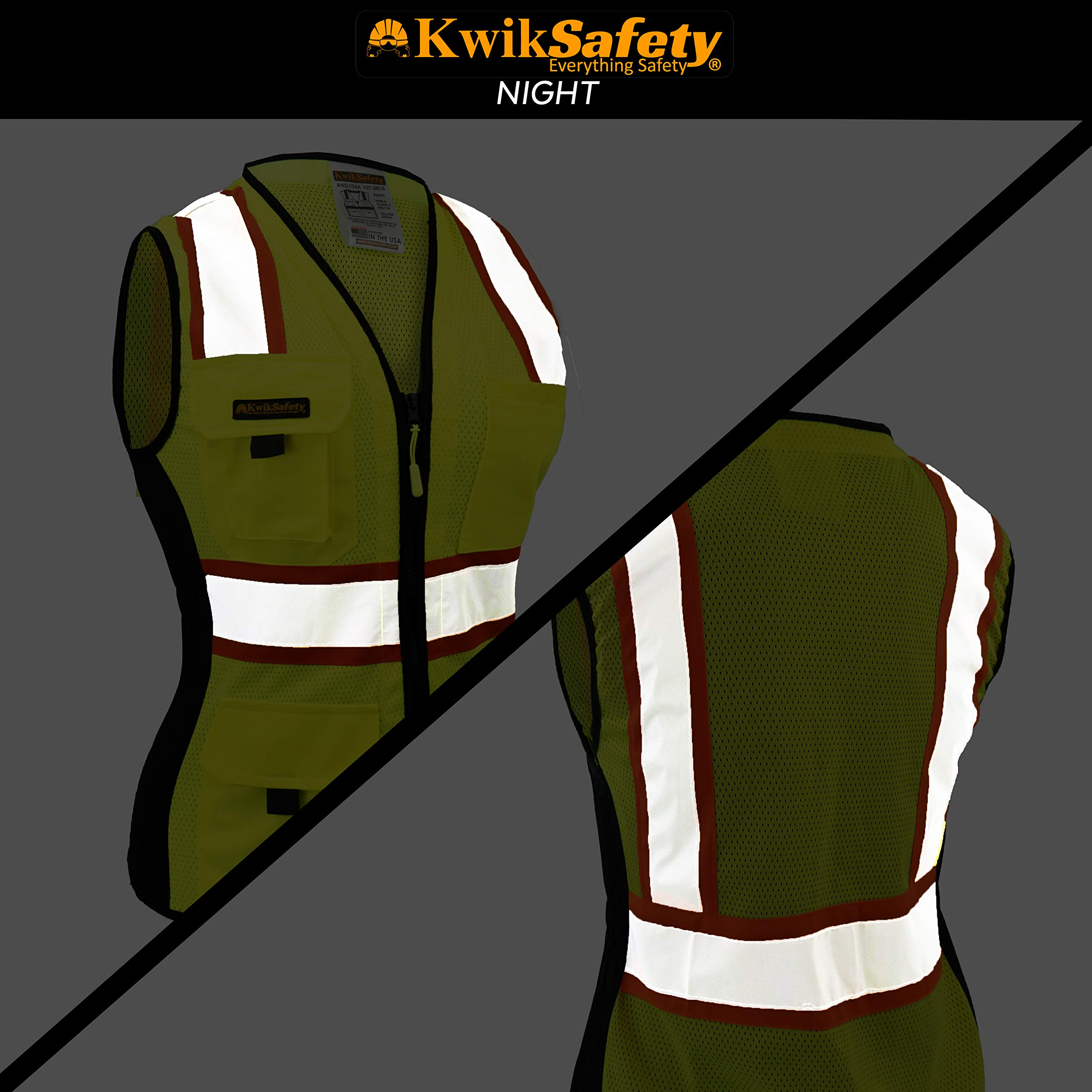 KwikSafety (Charlotte, NC) FIRST LADY Safety Vest for Women | Class 2 ANSI OSHA PPE | High Visibility Heavy Duty Mesh Pockets Zipper | Hi-Vis Construction Work Hi-Vis Surveyor Female | Yellow Large by KwikSafety (Image #2)