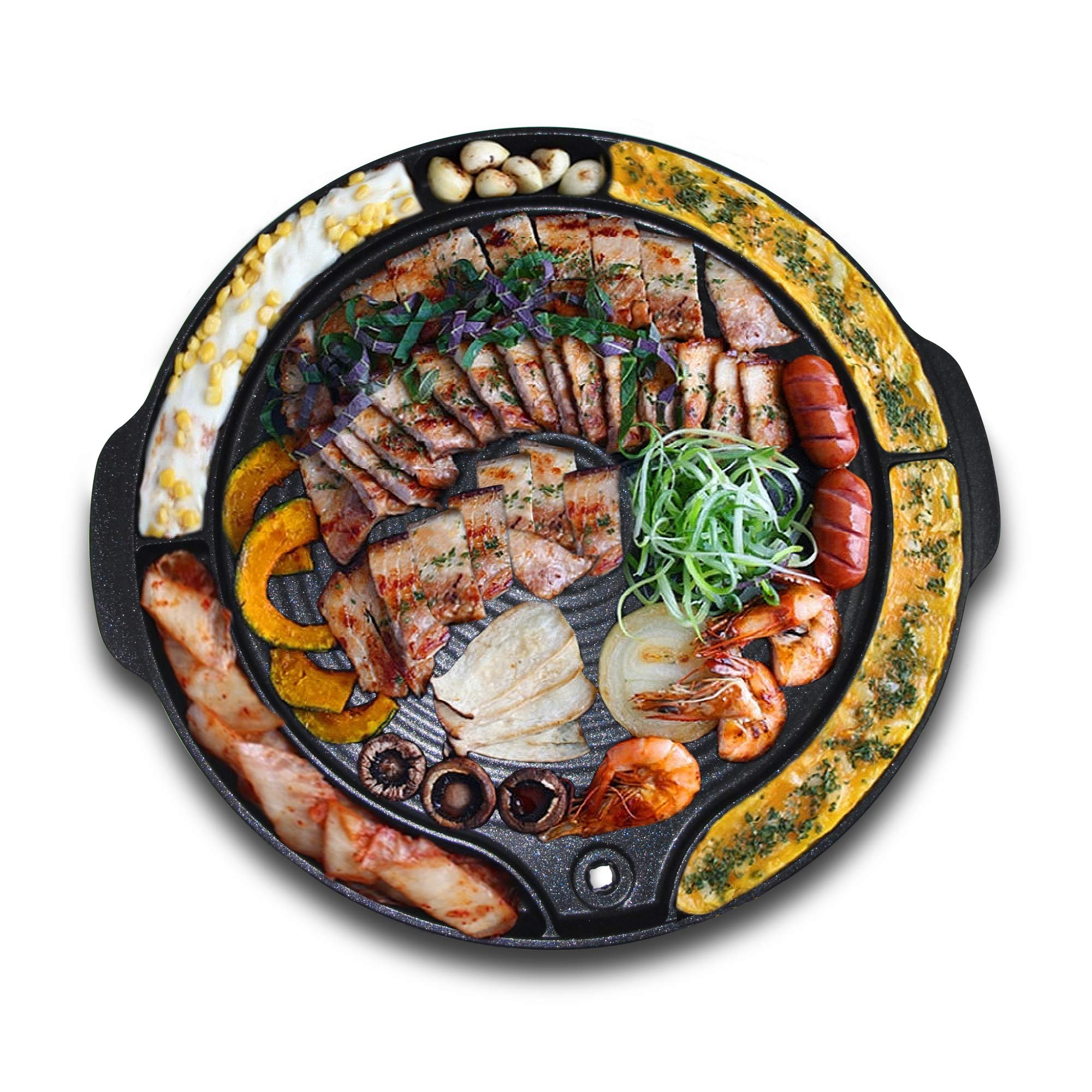 Tomoroo - Stove Top Korean BBQ Grill Pan - Non Stick Portable Barbeque Grilling Griddle Plate for Indoor and Outdoor by tomoroo