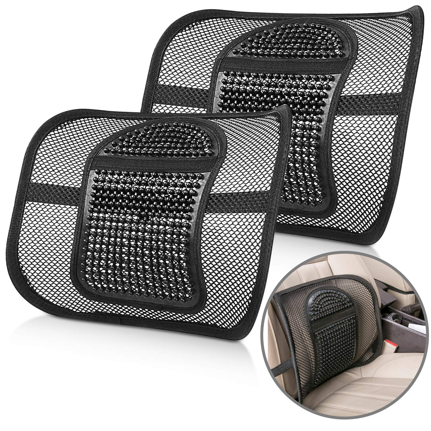 Back Lumbar Support Seat Cushion,Premium Quality Back Support pad with Elasticated Positioning Strap and Mesh Lumbar Massage- Relieve Back Pain Waist Support Magicfun