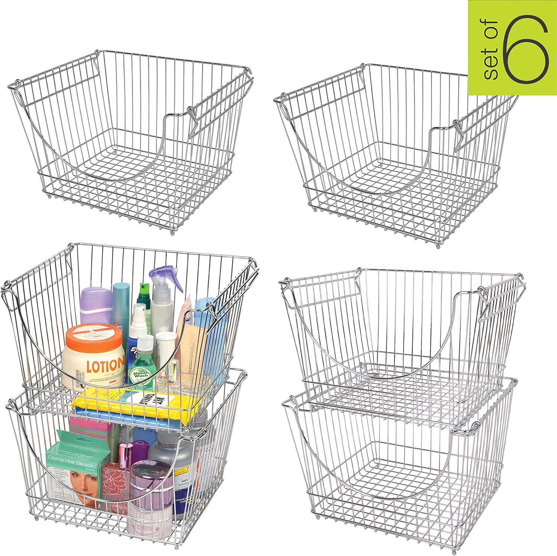 Smart Design Stacking Baskets Organizer - Large (12.63 x 8.5 Inch) - w/Handle - Steel Metal - Food, Fruit, Vegetable Safe - Kitchen [Chrome] - Set of 6