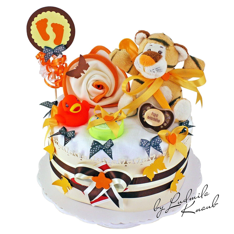 Gâteau de couches pour bébé dans un beau Marron–Orange ton//Cadeau de naissance, baptême, baby shower//Cadeau Original et Pratique Pour le bébé 1.206