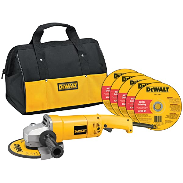 DEWALT Angle Grinder Tool Kit with Bag and Cutting Wheels, 7-Inch, 13-Amp (DW840K) (Color: yellow, Tamaño: full size)