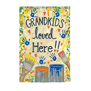 Evergreen Flag Beautiful Grandkids Loved Here Dropcloth Suede Garden Flag - 13 x 1 x 18 Inches Fade and Weather Resistant Outdoor Decoration For Homes, Yards and Gardens