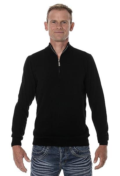 UGHOLIN Herren Pullover mit Reißverschluss am Kragen 100% Yak