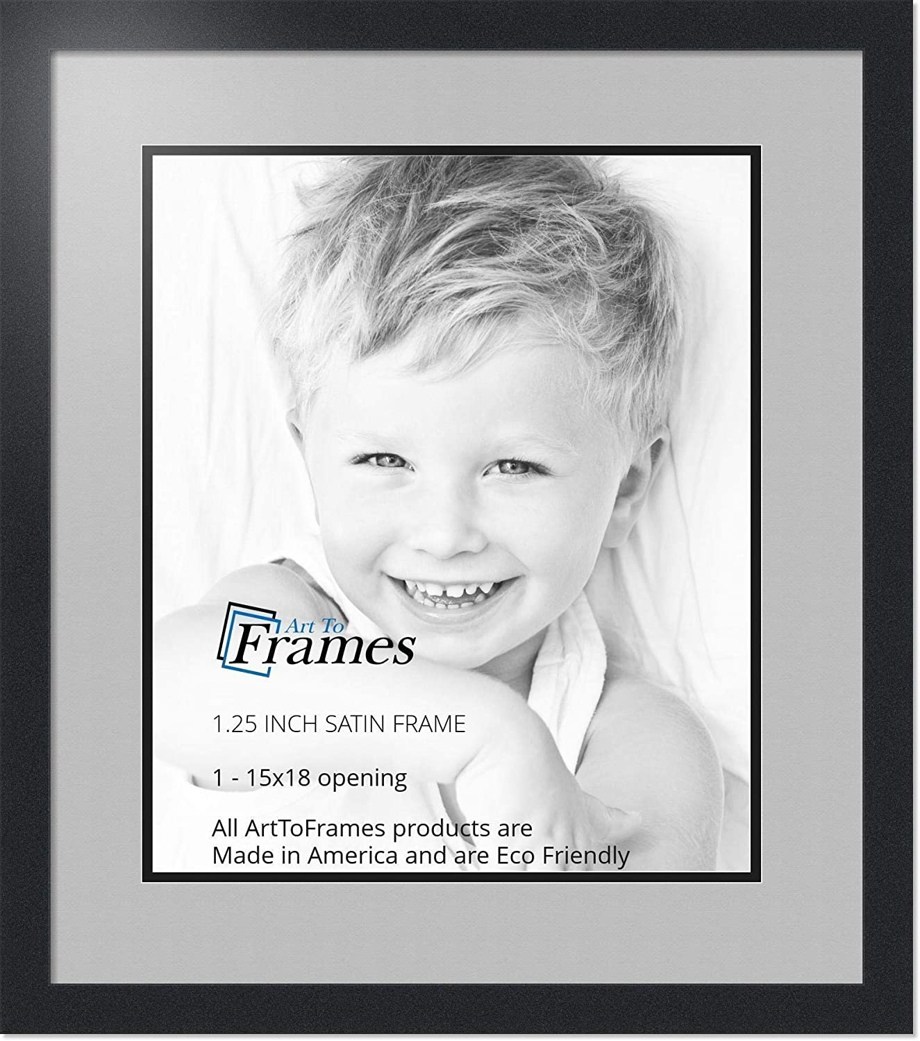 Art to Frames Double-Multimat-663-88//89-FRBW26079 Collage Photo Frame Double Mat with 1-15x18 Openings and Satin Black Frame