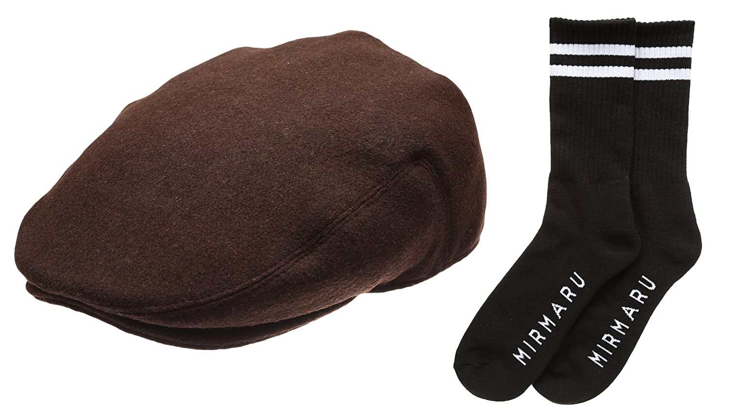 Mens Premium Wool Blend Classic Ivy Hat with Socks.