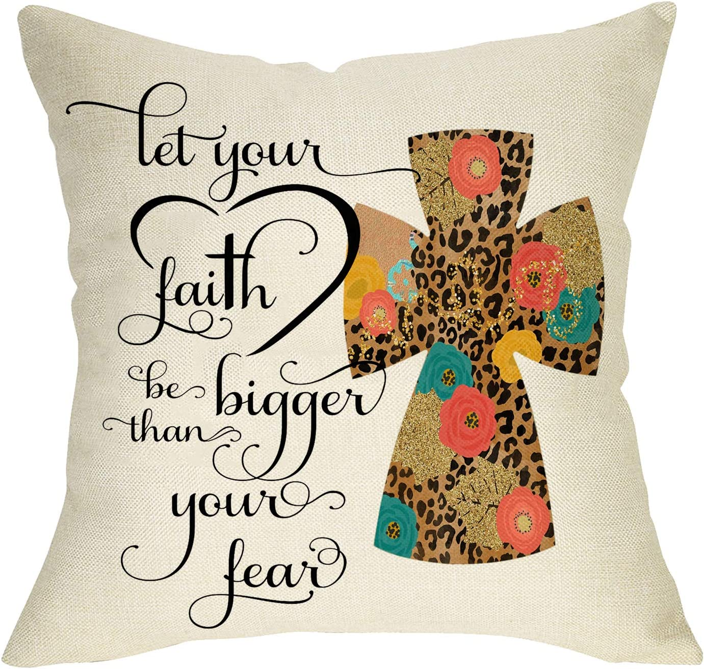 Softxpp Leopard Cross Decorative Throw Pillow Cover, Let Your Faith Be Bigger Than Your Fear Sign Cushion Case, Spring Summer Home Decorations Easter Religious Farmhouse Decor for Sofa Couch 18 x 18