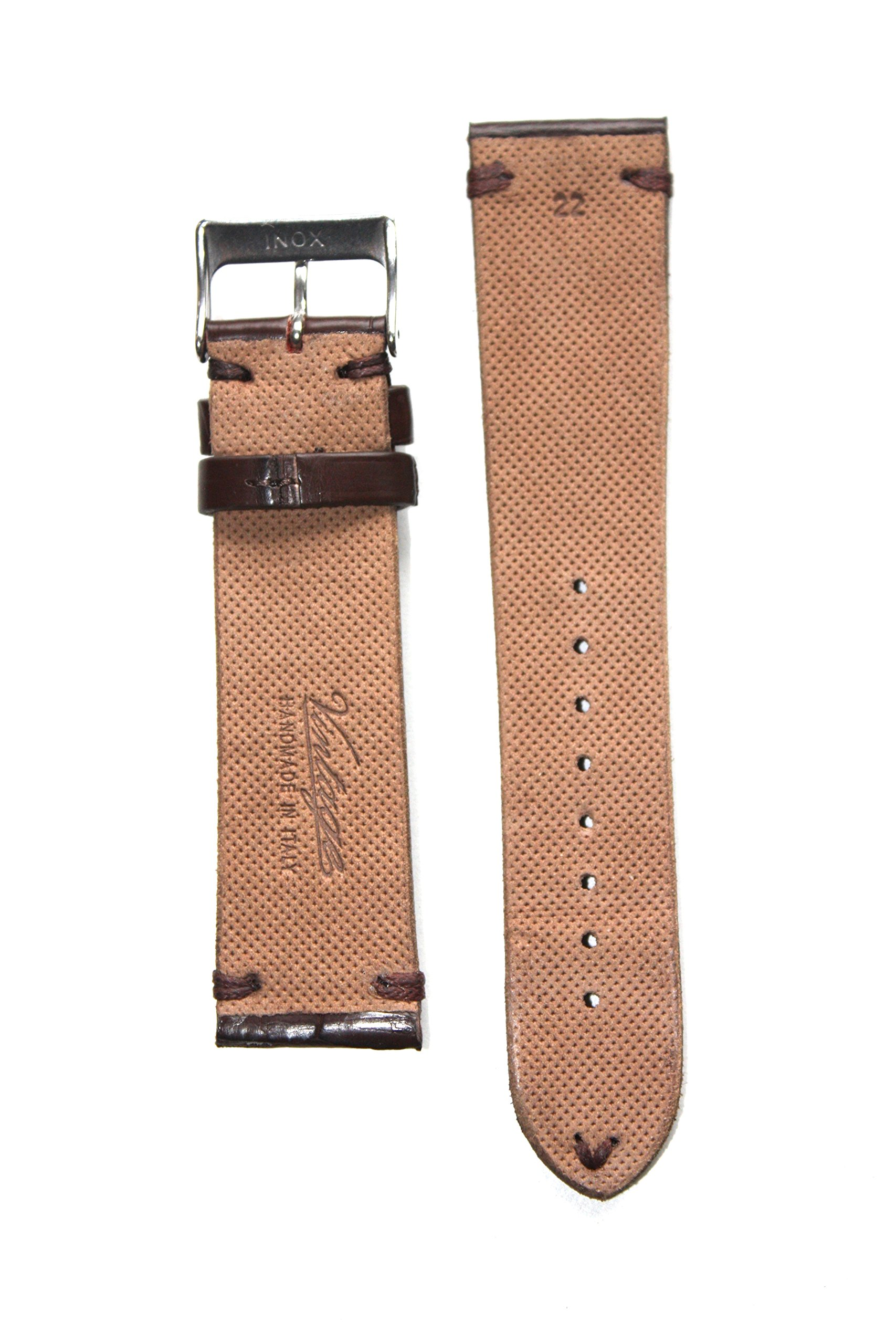 Vintage Collection 20mm Genuine Alligator Matte Brown Watchband from Italy Aero-Lining and S/S Buckle